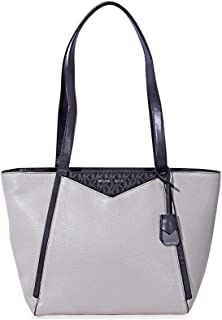 Pebbled Leather Tote- Grey/Black