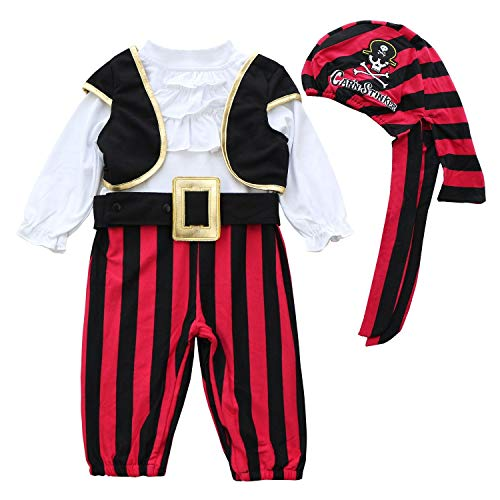 FANCYINN Baby Pirate Costume for Halloween Captain Stinker Infant Party Carnival Mardi Gras Costume 4pcs Set 90 24-30Months