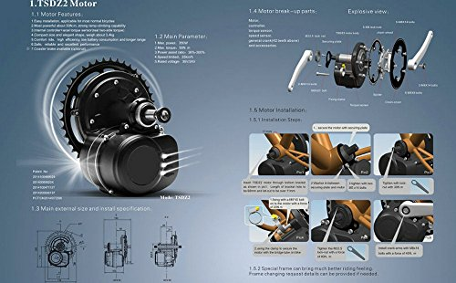 TongSheng New Version TSDZ2 Mid Central Motor Conversion ebike Kit,Torque Sensor 36V 500W 42T Chainwheel Electric Bicycle