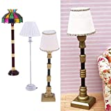 FLAMEER 3pcs 1:12 Puppenhaus Miniatur Möbel LED Stehlampe Licht Mit Lampenschirm Spielzeug