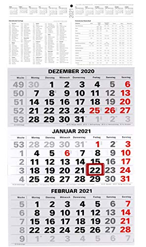 3-Monatskalender 2021 Bürokalender Wandplaner 450x235mm Dreimonatskalender klein