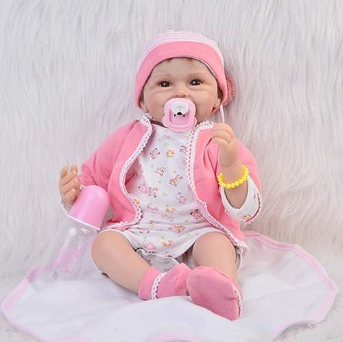 O-YLS Reborn Babys Puppe 22Zoll 5cm Schnuller mädchen Augen Offen Baby Dolls Weißes Silikon Vinyl Magnetisch Spielzeug
