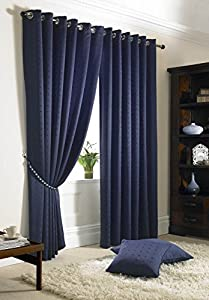 """Jacquard Check Navy Blue Lined Ring Top Eyelet Curtains 90x90"""""""