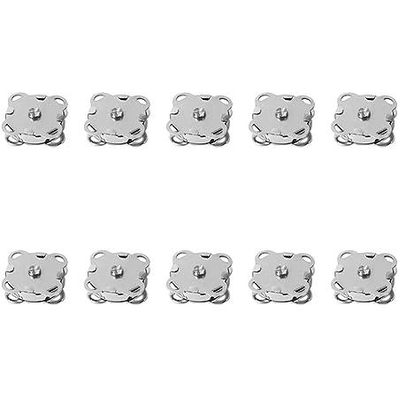 SUPVOX 10pcs Bottoni magnetici Bottoni Automatici Bottoni Fibbia in Metallo catenacci Fiore di Prugna per Borse Portamonete Vestiti Fare 18mm (Argento)