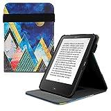 kwmobile Carcasa Compatible con Tolino Vision 1/2 / 3/4 HD - Funda para e-Book de Cuero sintético - montañas y Formas Dorado/Coral/Azul Oscuro