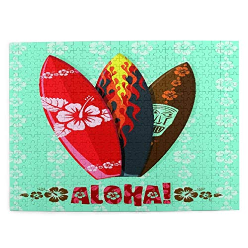 CVSANALA Rompecabezas con Imágenes 500 Piezas,Tablas de Surf Modernas de Aloha,Educativo Juego Familiar Arte de Pared Regalo para Adultos,Adolescentes,Niños,20.4' x 15'