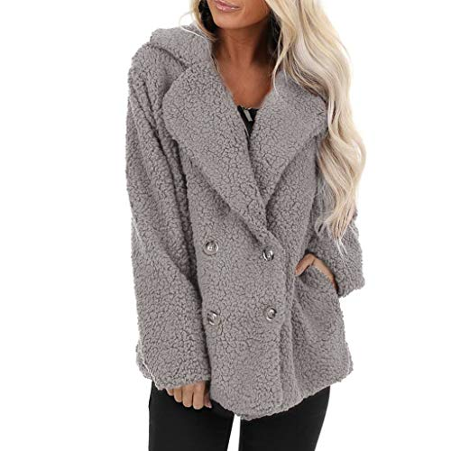 VEKDONE Women Fuzzy Fleece Lapel Open Front Long Cardigan Coat Faux Fur Warm Winter Outwear Jackets(Grey,Large)