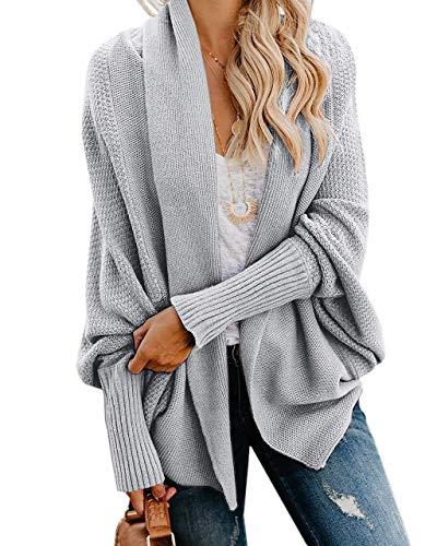 Imily Bela Womens Kimono Batwing Cable Knitted Slouchy Oversized Wrap Cardigan Sweater (Large, Grey)