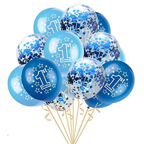 Scrox 15 Piezas Globos de Cumpleaños 1 año Niña Transparente Látex Globos de Helio Fiestas Niño Baby Shower Decoracion Regalos (Azul)