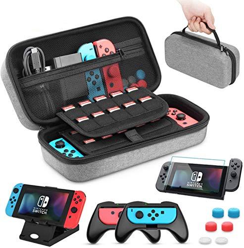 HEYSTOP Custodia Compatibile con Nintendo Switch 11 in 1 Custodia Compatibile con Switch Nintendo 2 Joy con Grip per Switch Nintendo PlayStand Regolabile Pellicole Protettive con 6 Thumb Grip (Grigio)