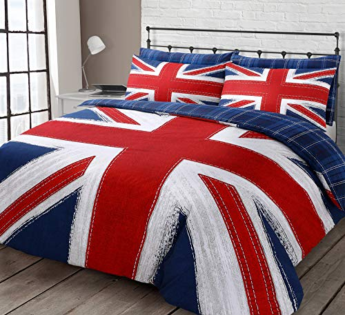 Velosso Union Jack England Red Blue Checkered Reversible Bedding Set/Quilt Cover and Pillowcase Set (Double)