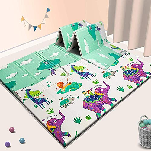 """Sensory & Learning Baby Play Mat, Foldable & Reversable playmat for Babies Infants, Toddlers, Kids,Extra Large Crawling mat,70"""" x 77.5"""" x 0.6"""", Floor Playing mats"""