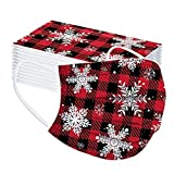 50PC Christmas Print Disposable Face Covering Bandanas Earloop Three-Layer Outdoor Dust Windproof for Women Men (85) (K)