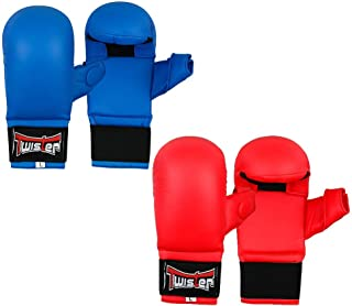 Lorsoul Taekwondo Gloves WTF Training Martial Arts Boxing Sparring TKD Punch Bag Mitts MMA Grappling Karate Fighting Gym Gear PU Leather Wrist Wraps Gloves for Men Women Kids