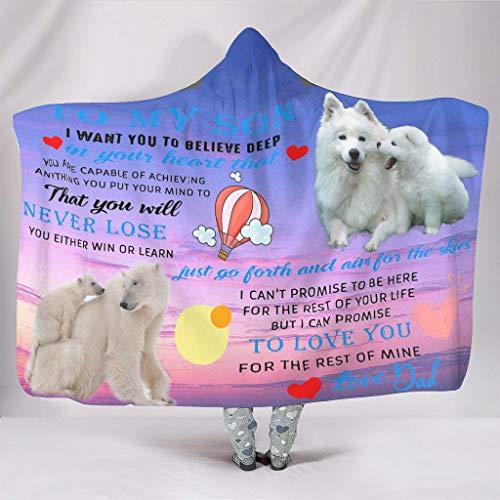 Generic Branded Manta con capucha para sofá con texto en inglés 'To my son from Dad' impresa – Manta para niños (127 x 152 cm), color blanco