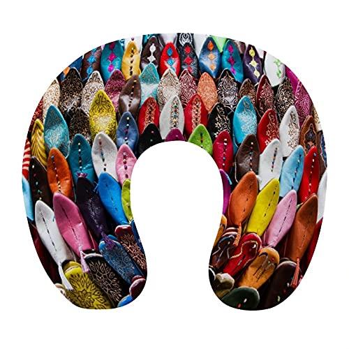 CIKYOWAY Almohada Viaje,Marrakech Coloridos Zapatos orientales marroquíes Mercado de Marrakech,Espuma de Memoria cojín de Cuello,Almohadas de Acampada,Soporte de Cuello para Viaje Coche