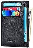 Minimalist Wallet Rfid Blocking Credit Card Holder Men Black Crossgrain Leather Thin Skinny Slim Wallet Id Window Front Pocket Wallet