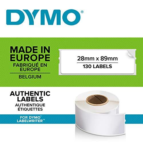 DYMO LW-Adressetiketten   28mm x 89mm   schwarz auf weiß   Rolle mit 130 Etikettenband   selbstklebend   für LabelWriter-Beschriftungsgeräte   authentisches Produkt
