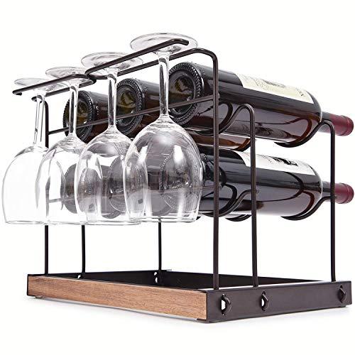 Z&HAO Estante De Metal para Vino, Estante para Vino De Pie, 6 Botellas De Mostrador para Botellas De Vino, Estantes De Exhibición De Vino De 2 Niveles con 4 Estantes para Secado De Copas De Vino