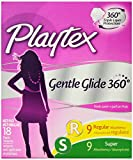 Playtex Gentle Glide Tampons, Deodorant, Multi-Pack, 9 Regular Absorbency, 9 Super Absorbency , 18 tampons