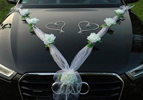 Autoschmuck Decorazioni per Macchina Nastro in Organza + Cuori Ornamentali, per sposi, Matrimoni, Motivo: Rose, Decorazioni per Auto, Rattan (Bianco)