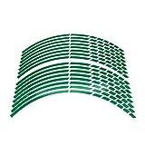 17'18' 19'16' Pegatina de Rueda de Motocicleta Pegatina de Rueda Reflectante Rim Motorbike Auto Calcomanías para Yamaha Suzuki Honda Kawasaki (Color : Green)