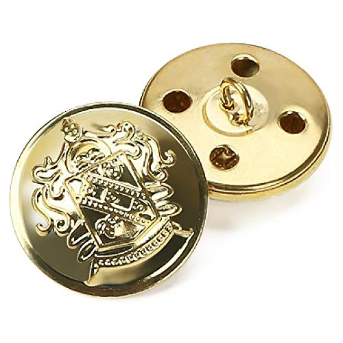 Bottoni in metallo stile retrò, bottoni decorativi per cappotto, accessori da cucito 12pezzi, dorati, Gold, 15 mm