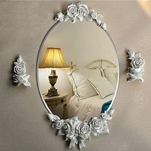 QXHELI De spiegels-pastorale cosmetische spiegel muur Europese creatieve moderne, eenvoudige waterdichte tuin ronde badkamers, objecten van decoratie hars welkomstspiegels (kleur: de champagne.