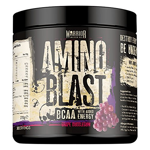 Warrior Amino Blast BCAA Powder Amino Acids 270g - Grape Bubblegum 30 Servings