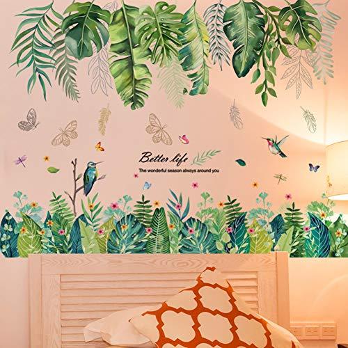 YUIOP Pegatinas de pared de hojas de plantas DIY calcomanías de pared de hierba verde para sala de estar tienda decoración de casa de guardería