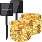 Solar Lichterkette Aussen 2 Stück 100 LED 12M 8 Modus,Batteriebetriebene Kupfer Wasserdichte Lichterketten für Balkon, gartendeko, Bäume, Terrasse, Hochzeiten, Partys(Warmweiß)[Energieklasse A+++]