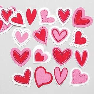 Baker Ross Ltd Love Heart Felt Stickers (Pack of 100) Self Adhesive Puffy Scrapbook Stickers