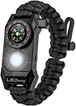 A2S Protection LEDway Paracord Bracelet Tactical Survival Gear Kit 6-IN-1-70% Larger Compass LED SOS Emergency Function Flashlight -Fire Starter Emergency Knife & Whistle (Black Adjustable Size)