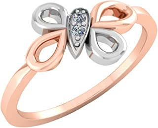 Perrian 18K Multi-Toned White Gold & Rose Gold 0.03 Carat Round (SI2 Clarity, GH Color) Diamond Ring for Women