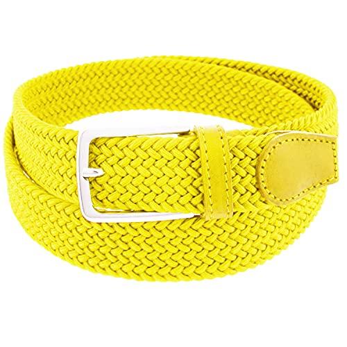 Charmoni Sienna Cintura Donna Intrecciata Elastica Pelle Sintetica Fibbia Acciaio Argento Altezza 3 cm TU Taglia Unica