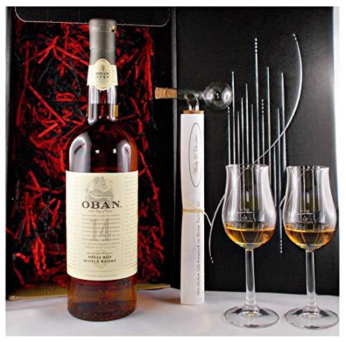 Geschenk Oban 14 Jahre Single Malt Whisky + Glaskugelportionierer + 2 Bugatti Gläser