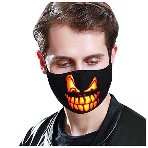 SUMTTER Halloween Halstücher Oktoberfest Rave Schutzschal Freizeit Mundschutz GesichtsSchals Stoff Waschbar für Erwachsene Kind, Partei, Weihnachten, Karneval(B,1PC)