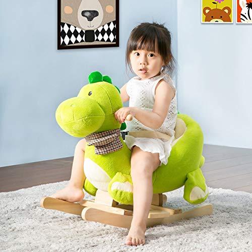 belupai Balancín infantil y bebé con diseño de caballo balancín, mecedora especial para niños (dragón)