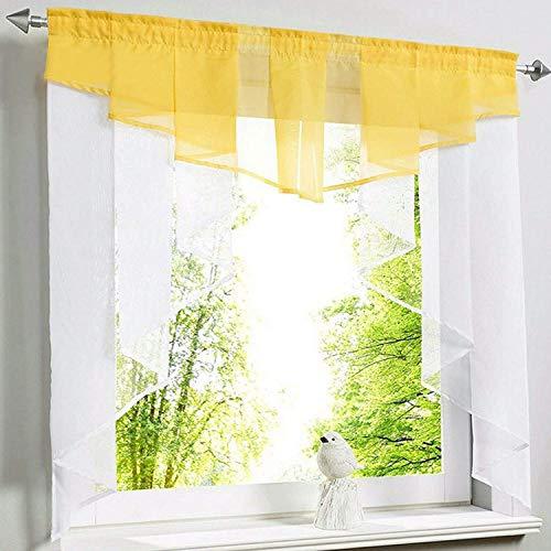 CULASIGN transparant voile vitrage met trekkoord, korte gordijnen voor kleine ramen