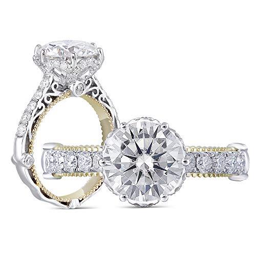 DovEggs Solid 14k White Gold Moissanite Engagement Ring