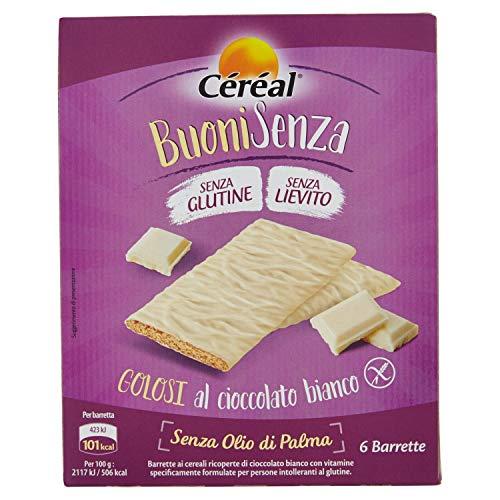 Céréal Esclusivi Golosi al Cioccolato Bianco, 6 barrette al cioccolato, snack senza glutine, senza lievito - 120 g