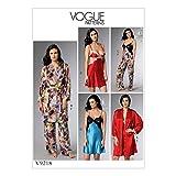 Vogue Mustern 9218E5Schnittmuster Bademantel/Gürtel/Mieder/Nachthemd und Hose, Tissue, mehrfarbig, Größen 14–22