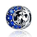 Abalorio de plata de ley 925 «Starry Sky» con diseño de luna y estrellas de circonita cúbica de color azul para pulsera y collar, perfecto regalo de San Valentín