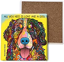 SJT ENTERPRISES, INC. Bernese - All You Need is Love and a Dog Absorbent Stone Coasters, 4-inch (4-Pack) Features The Artwork of Dean Russo (SJT07003)