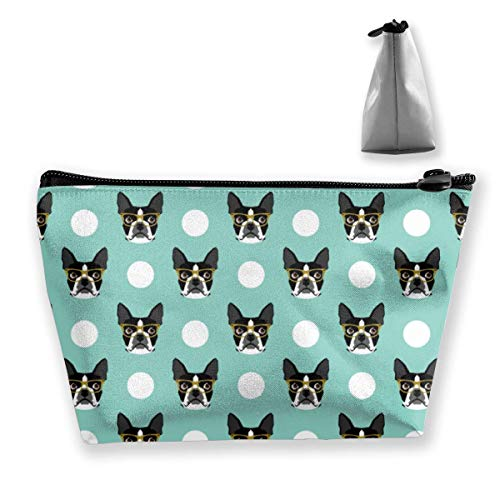 Boston Terrier Dog Cartoon Trapezoid Travel Cosmetic Storage Pouch Pochette
