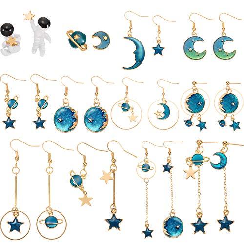 12 Pairs Moon Star Earrings Dangle Earth Planet Asymmetrical Drop Earrings Astronaut Stud Earrings Jewelry for Women Girls