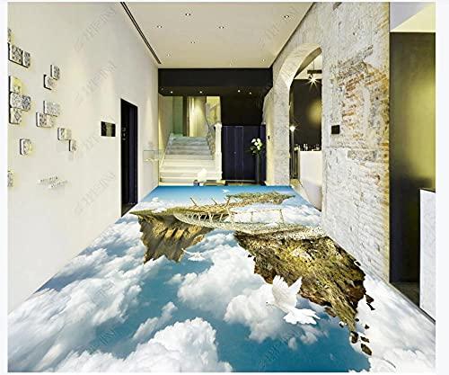 Pintura de suelo en 3D Mural Papel tapiz fotográfico Isla del cielo impresionante puente colgante nube blanca paisaje Sala de estar Baño PVC Azulejos impermeables Pegatinas Piso 450x300cm