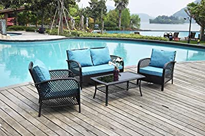 Leasbar Patio Furniture Sets 4 Pieces Outdoor Furniture Set Patio Sectional Rattan Furniture Wicker Conversation Sets with Cushions Blue