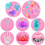 8 Pieces Silicone Molds, Bat Pumpkin Star Fondant Molds Moon Spider Desserts Molds Skeleton Owl Chocolate Cake Candy Molds for Making Gum Paste, Polymer Clay, Epoxy Resin