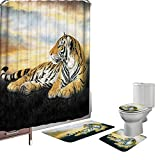 Amagical 16 Pieces Shower Curtain Set Bathroom Mats Set Non-Slip Rug Carpet Toilet Cover Shower Curtain with 12 Hooks Yellow Tiger Print (Yellow Tiger)